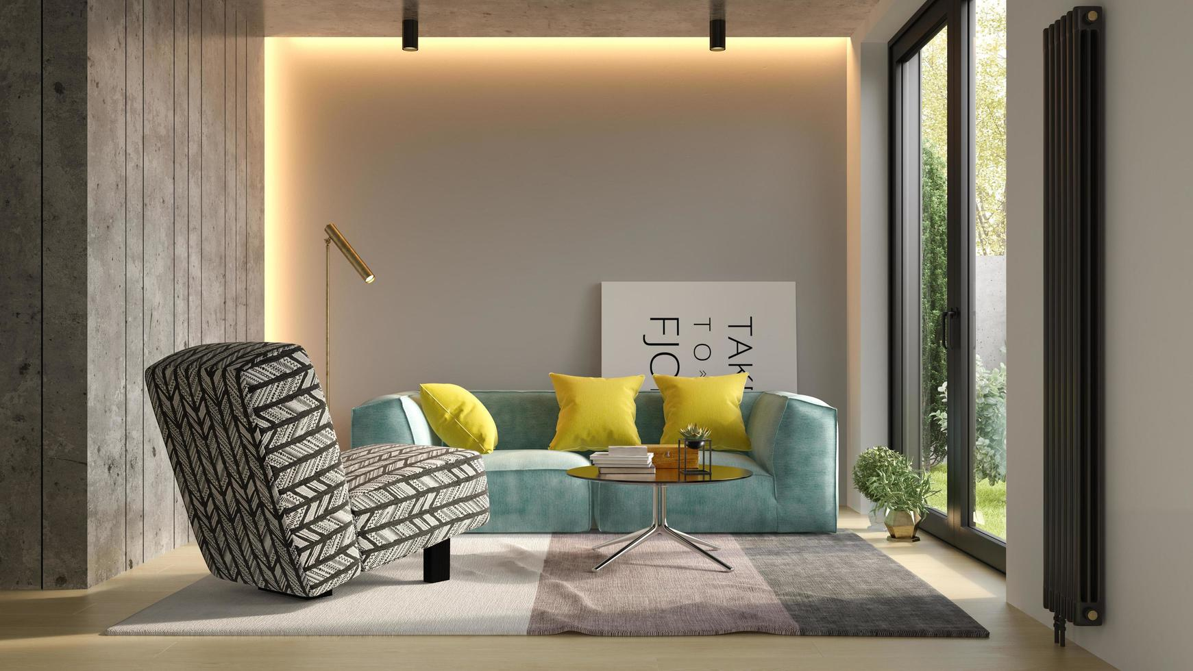 Interior design of a modern room in 3D illustration photo