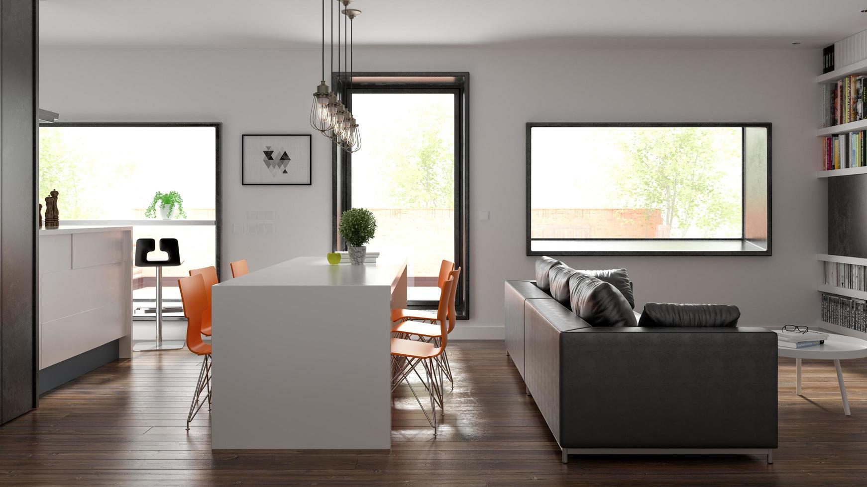 Scandinavian-style interior design in 3D rendering photo