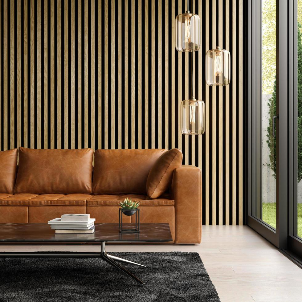 Interior of a modern room with a sofa in 3D rendering photo