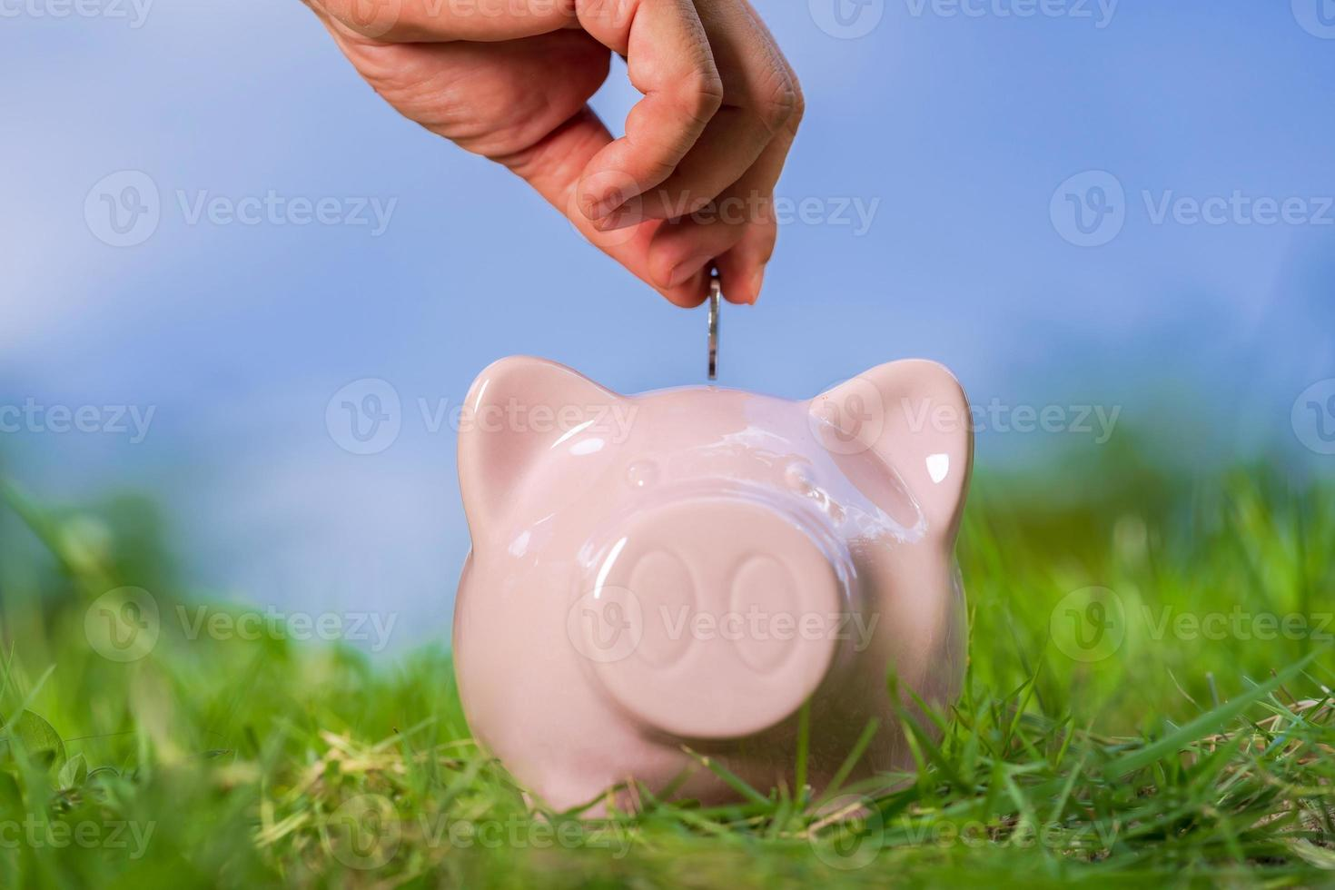 Pink piggy bank on grass with hand putting in a coin photo