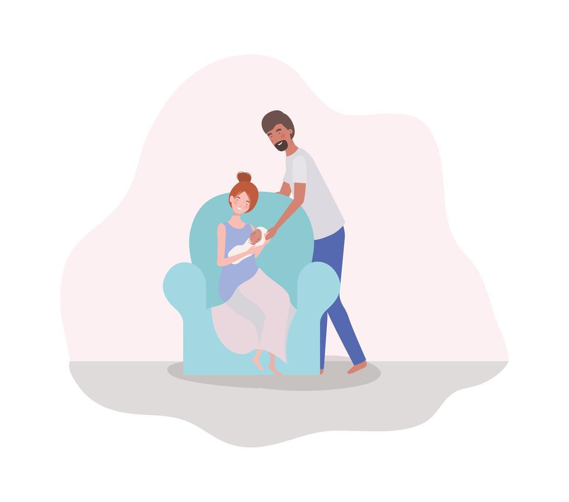 padres cuidando a un bebé recién nacido en el sofá vector