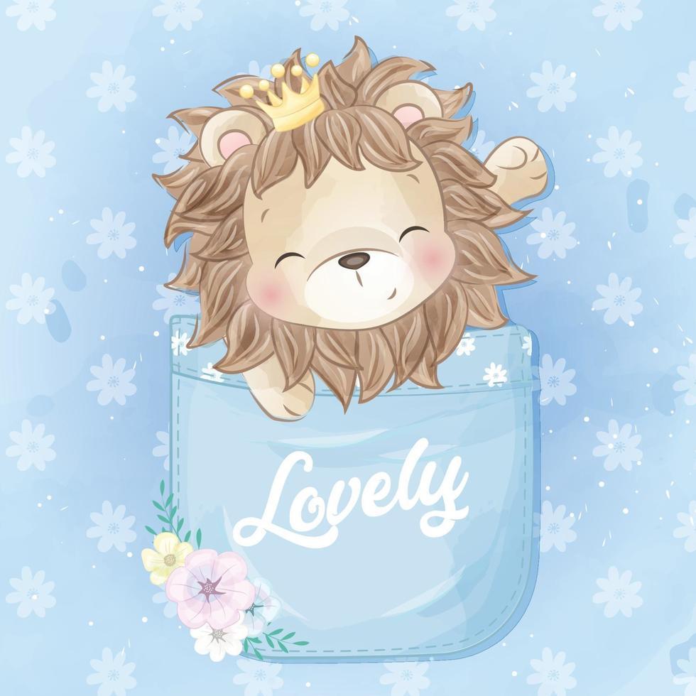 Cute lion sitting inside the pocket illustration vector