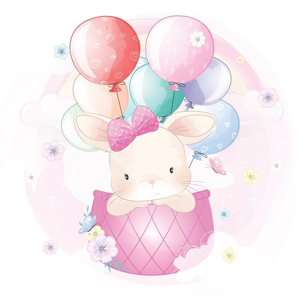 Cute rabbit flying in hot air balloon illustration vector