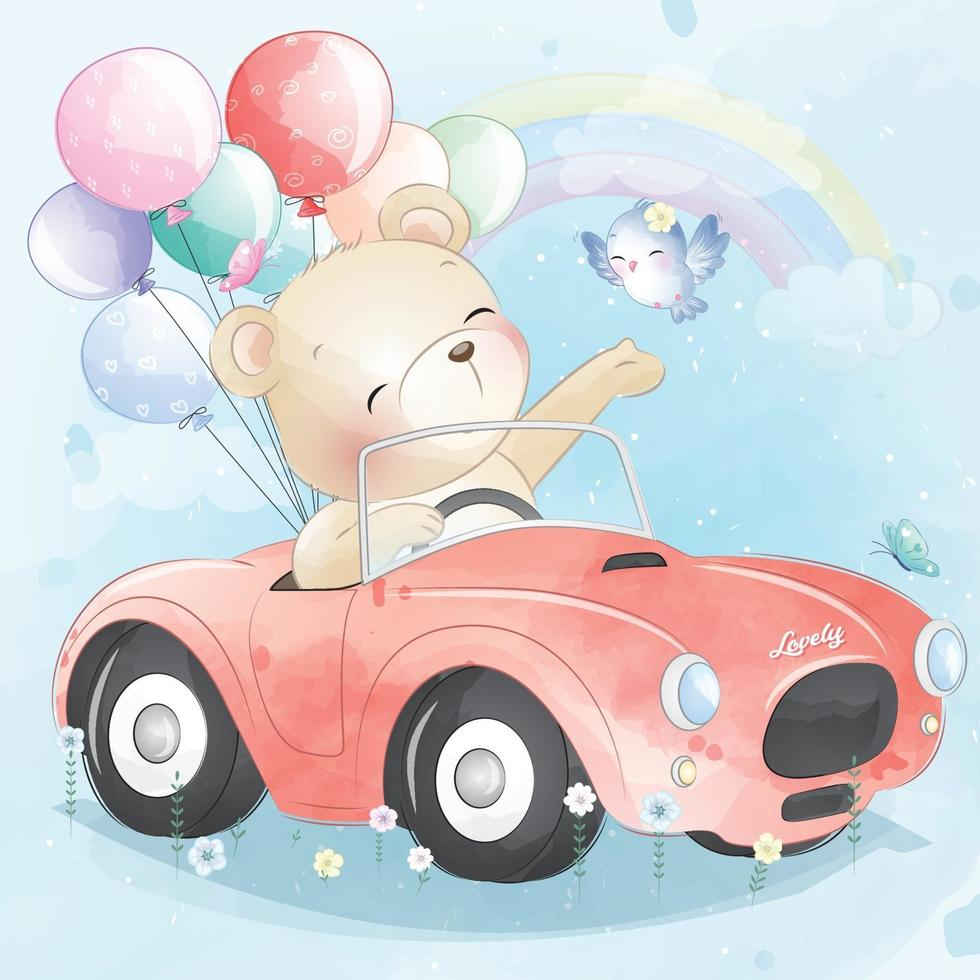 Cute bear driving a car illustration vector