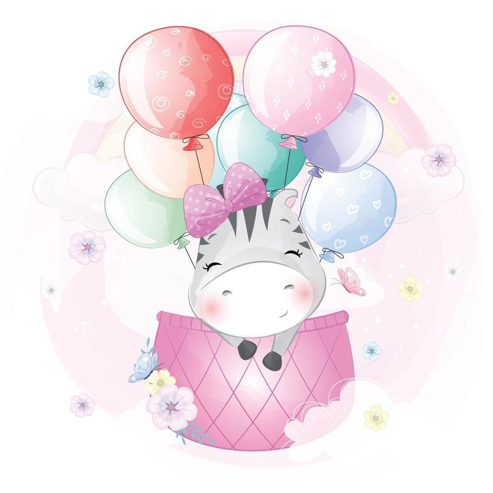 Cute zebra flying in hot air balloon illustration vector