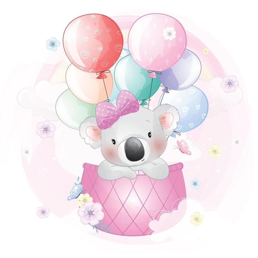 Cute koala flying in hot air balloon illustration vector