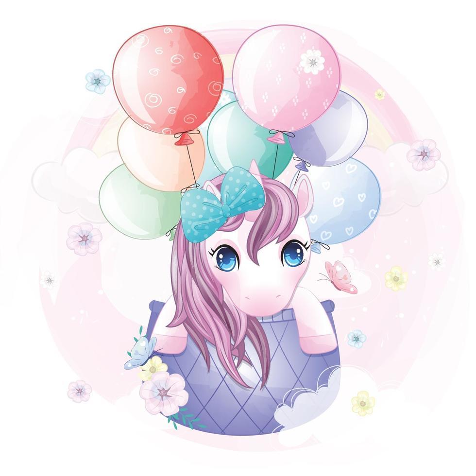 Cute unicorn flying in hot air balloon illustration vector