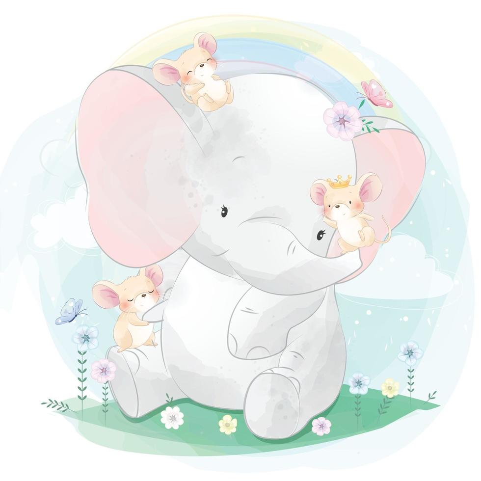 Cute elephant playing with mouse illustration vector