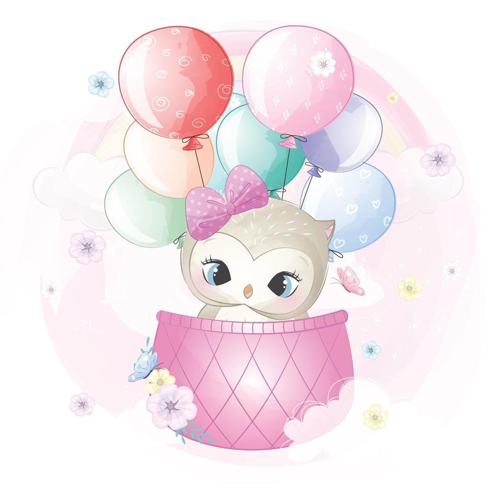 Cute owl flying in hot air balloon illustration vector