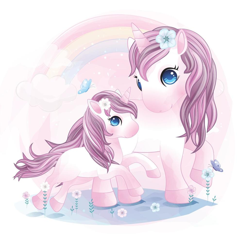 Cute unicorn mother and baby illustration vector