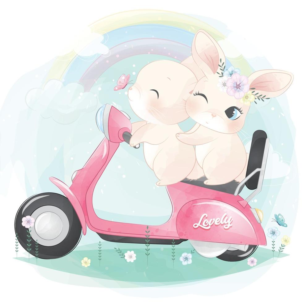 Cute bunny riding a motorcycle illustration vector