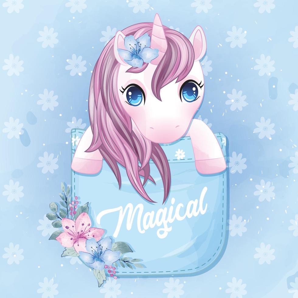 Cute unicorn sitting inside pocket illustration vector