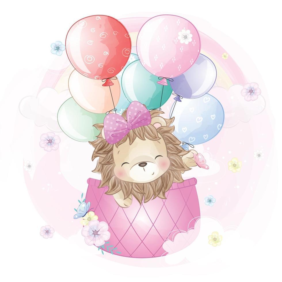 Cute lion flying in hot air balloon illustration vector