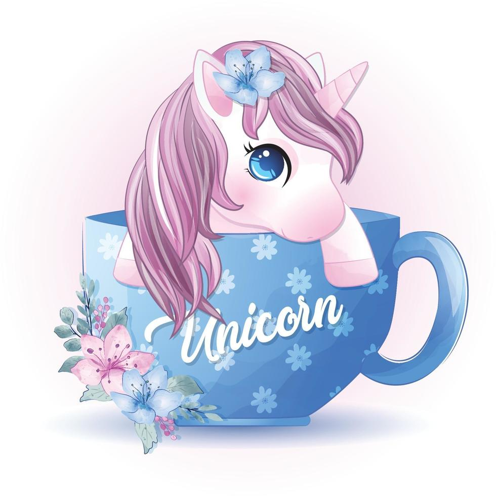 Cute unicorn sitting inside cup illustration vector