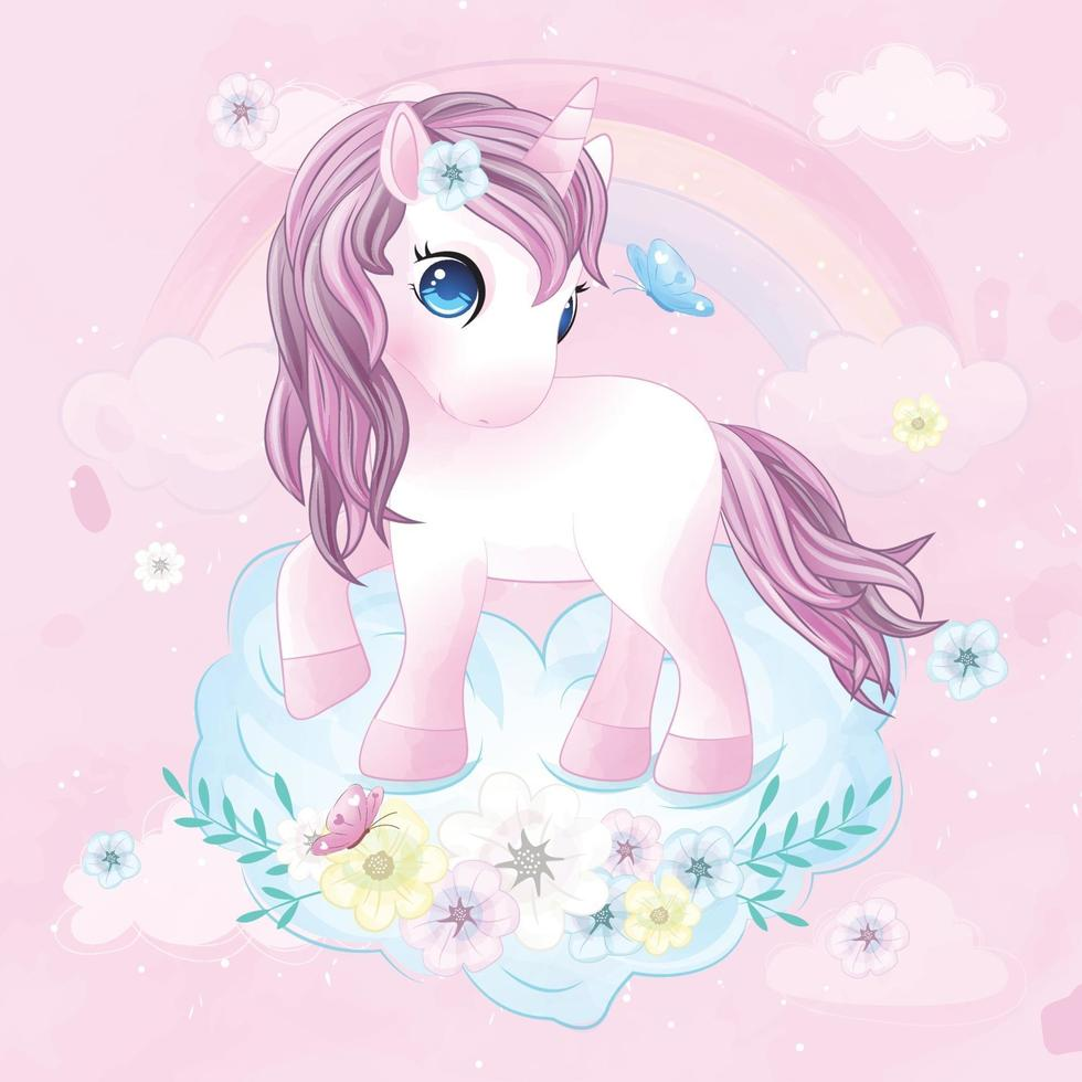 Cute unicorn with watercolor illustration vector