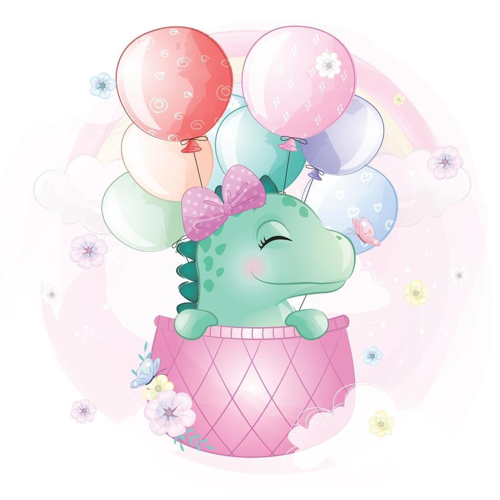 Cute dinosaur flying in hot air balloon illustration vector
