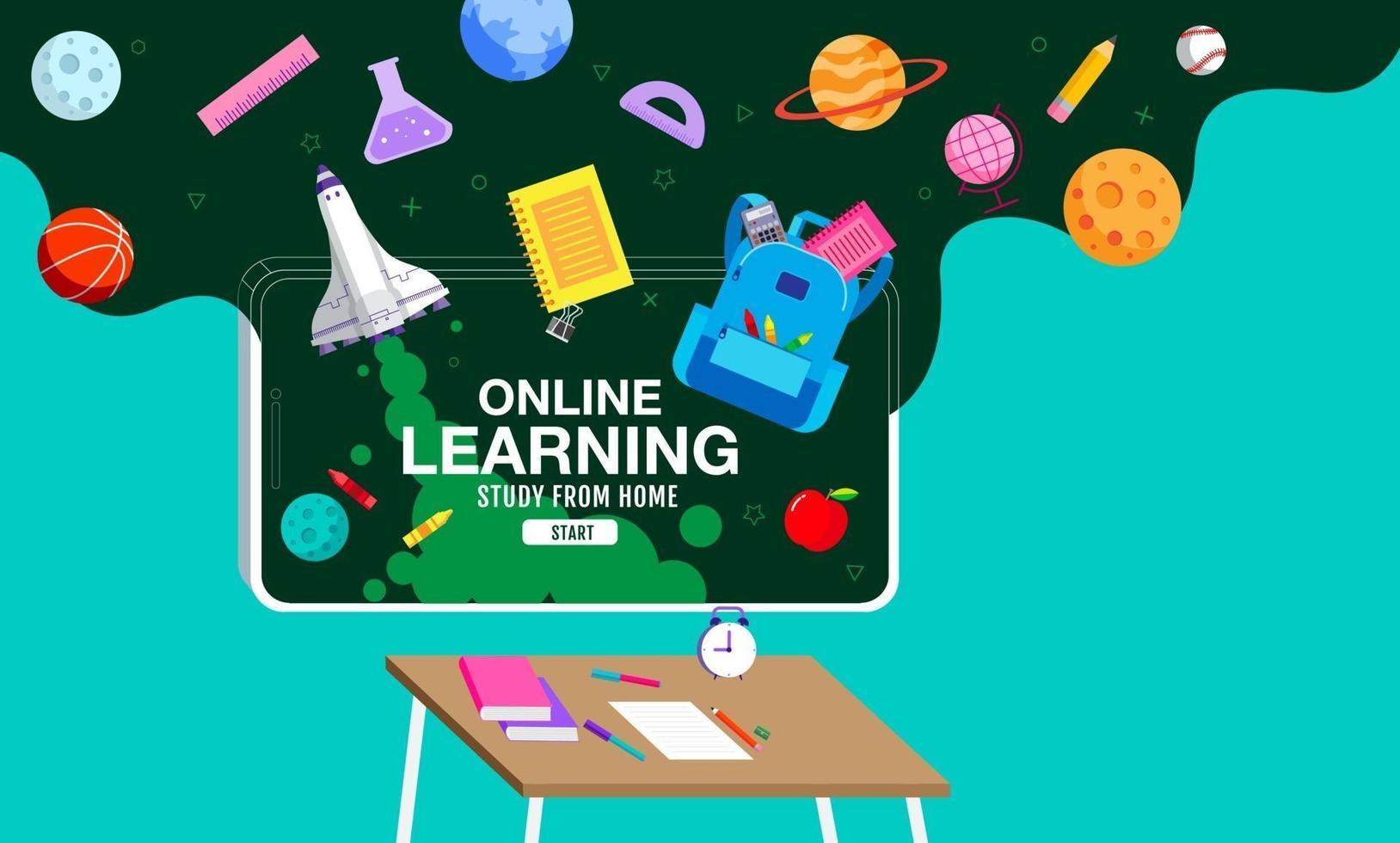 aprendizaje en línea, estudio desde casa, distanciamiento social, regreso a la escuela, vector de diseño plano.