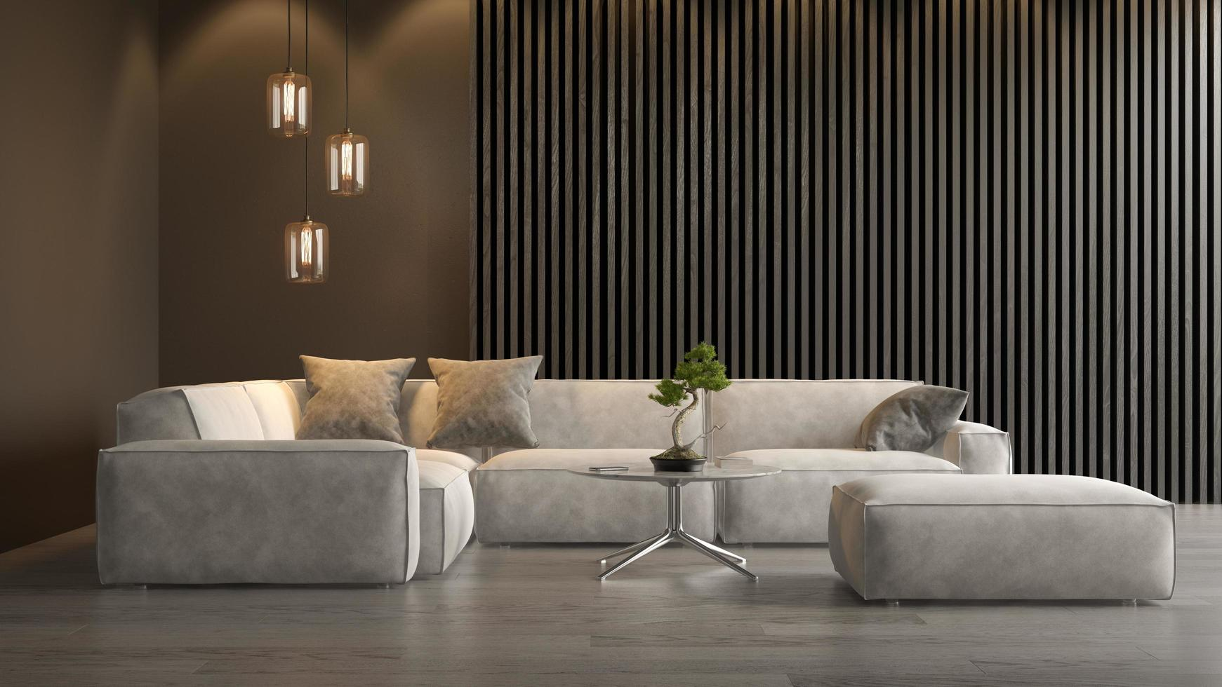 Interior of a modern living room in 3D rendering photo