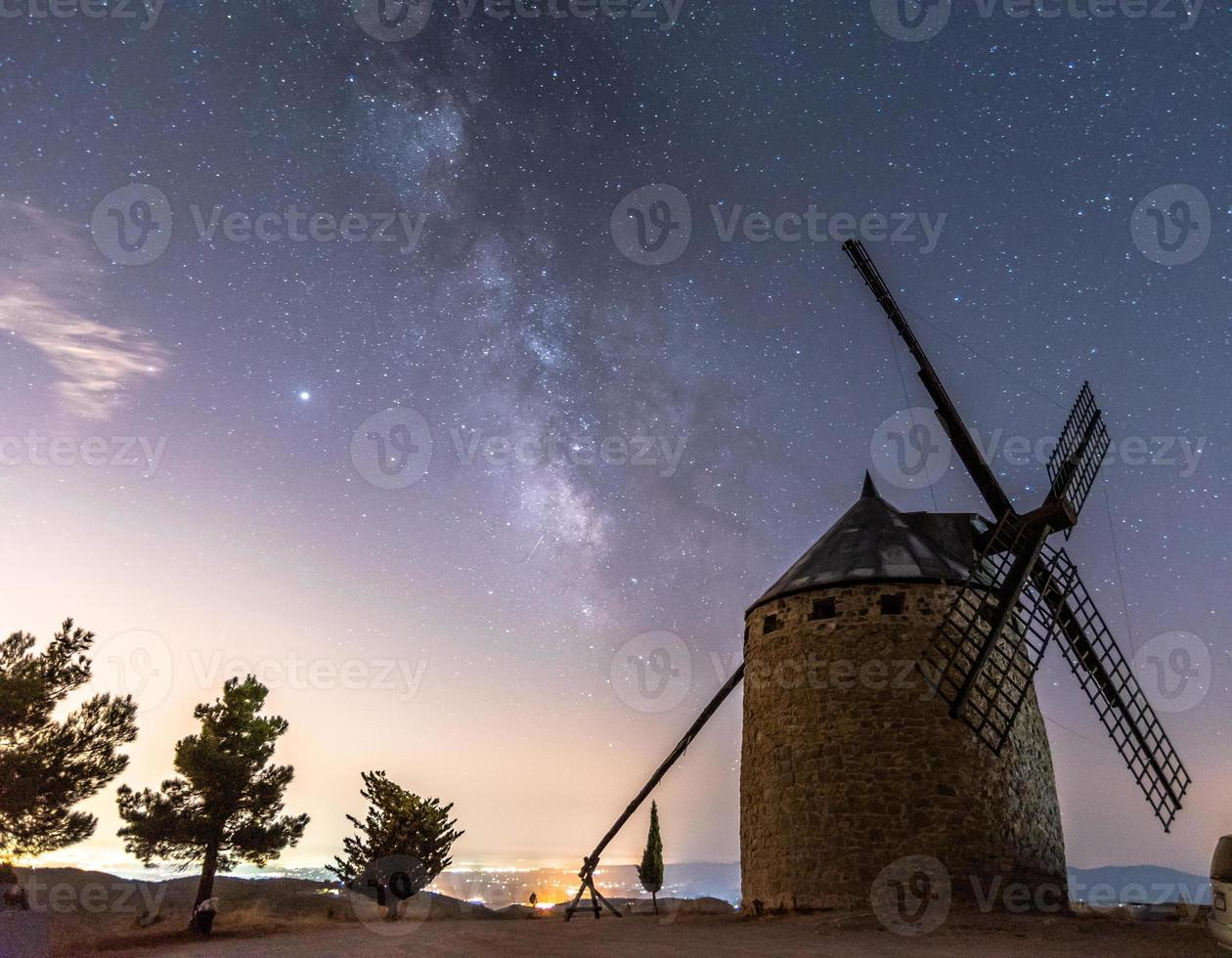 Windmill with the Milky Way photo