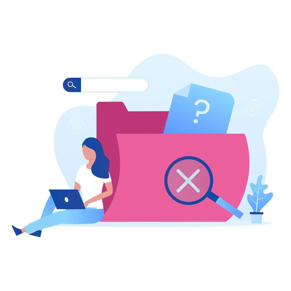Data search not found  illustration vector concept