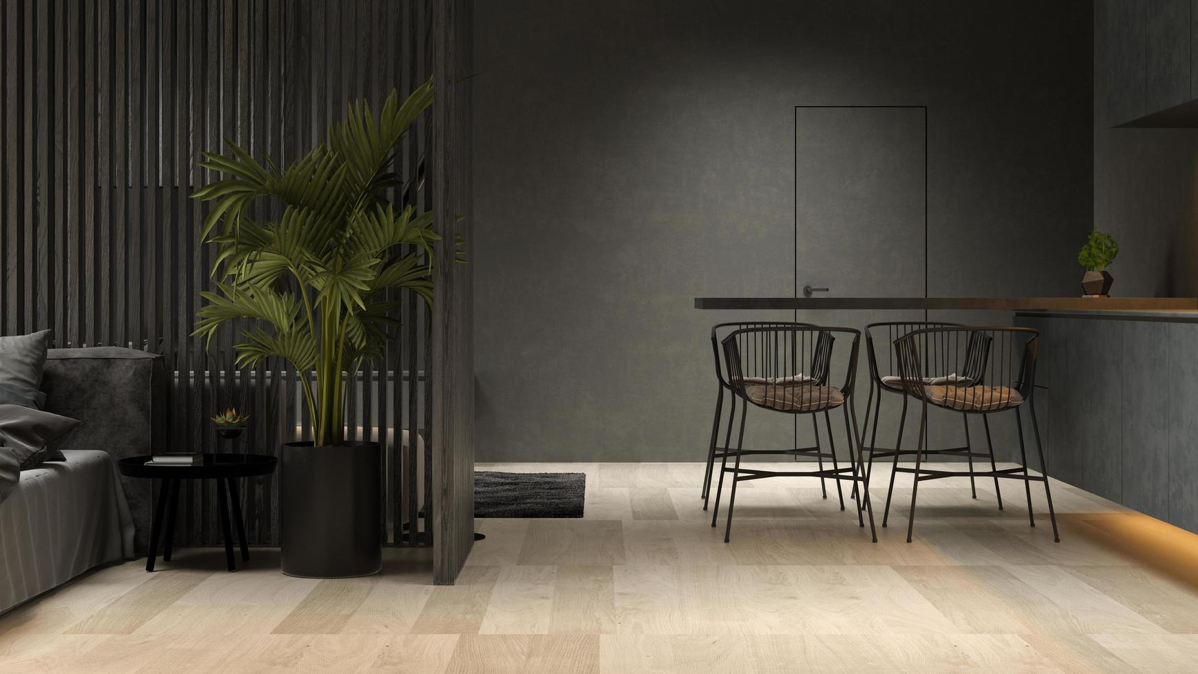 Black minimalist interior of a modern home in 3D rendering photo