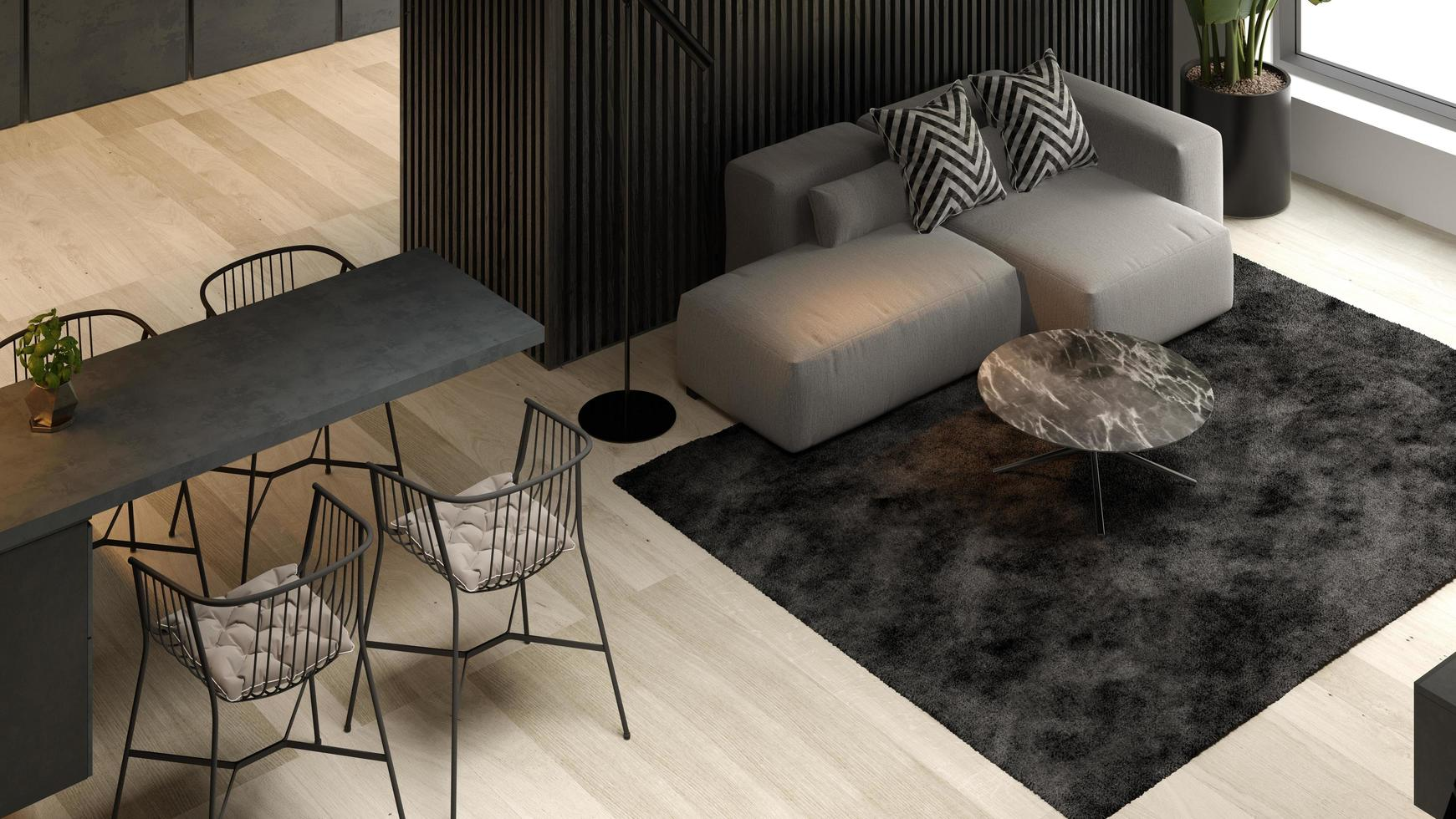 Angled view of a black minimalist interior of a modern home in 3D rendering photo