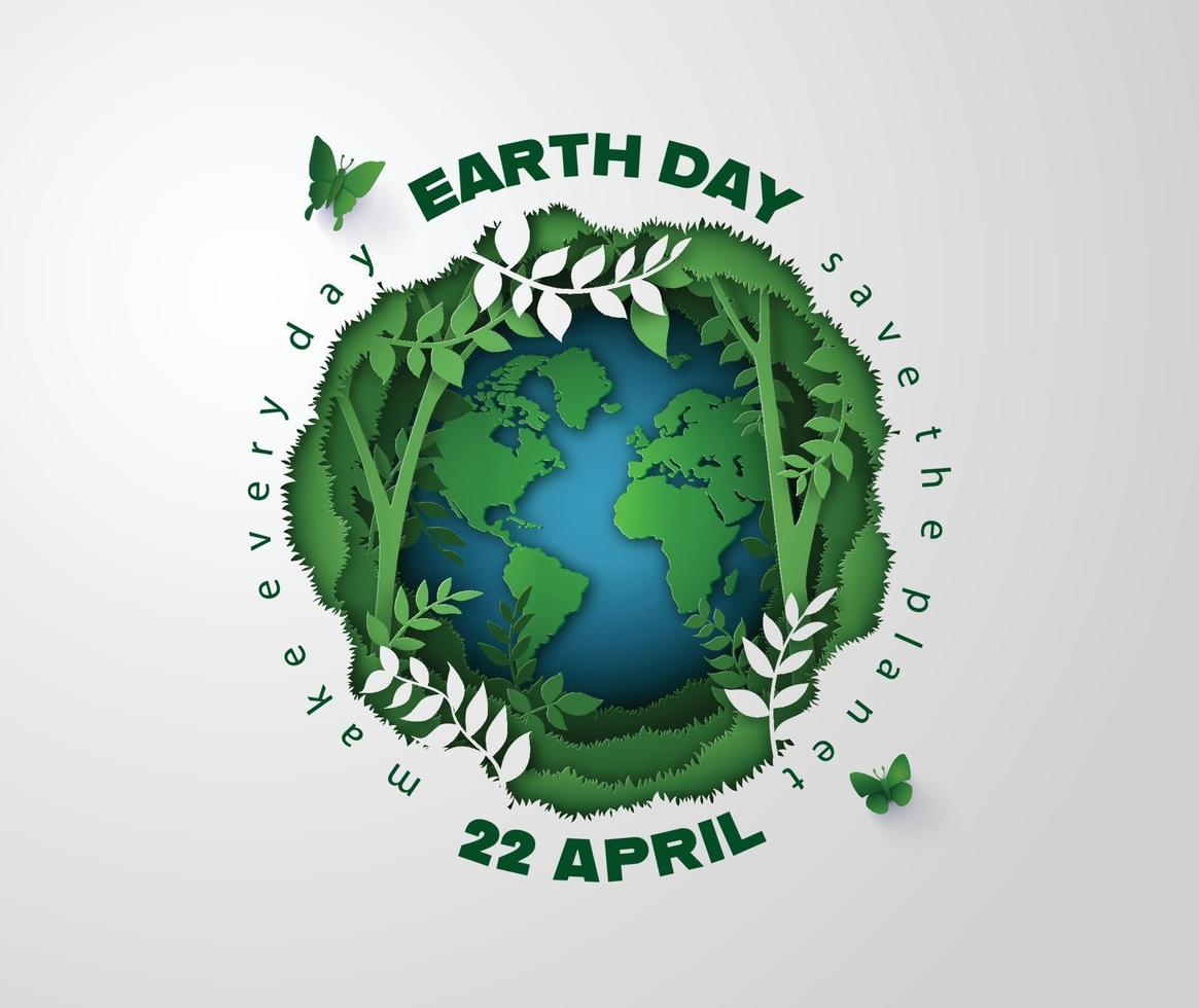 Planet earth surrounded by forest plants and vines, Earth Day concept vector