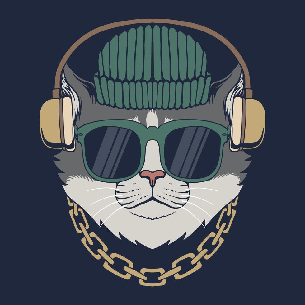 Cat with headphones vector illustration