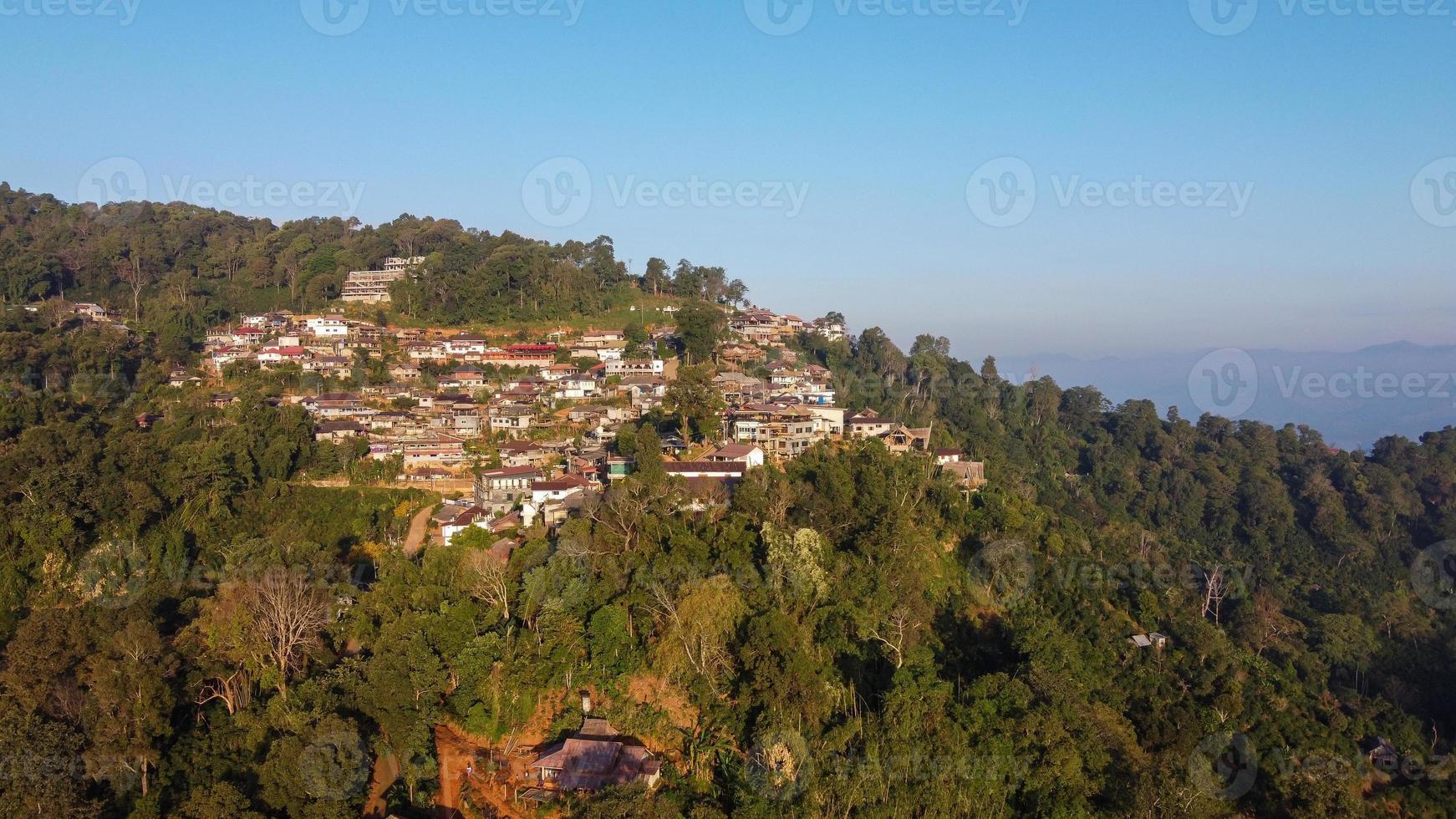 Aerial view of Phahee village, Chiang Rai, Thailand photo
