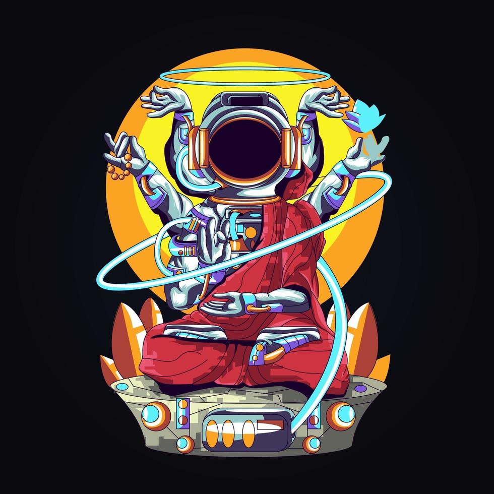 astronaut buddha relegion artwork illustration vector