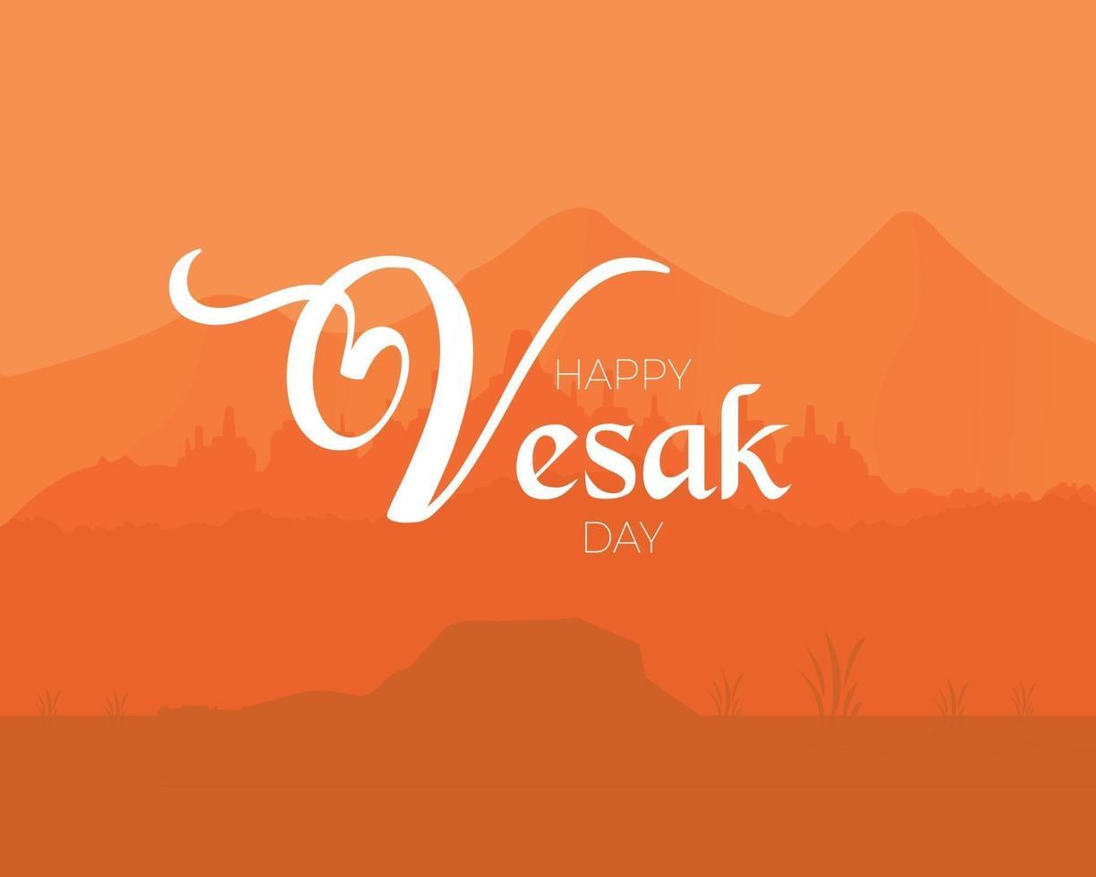 feliz día de vesak ilustración de paisaje vector