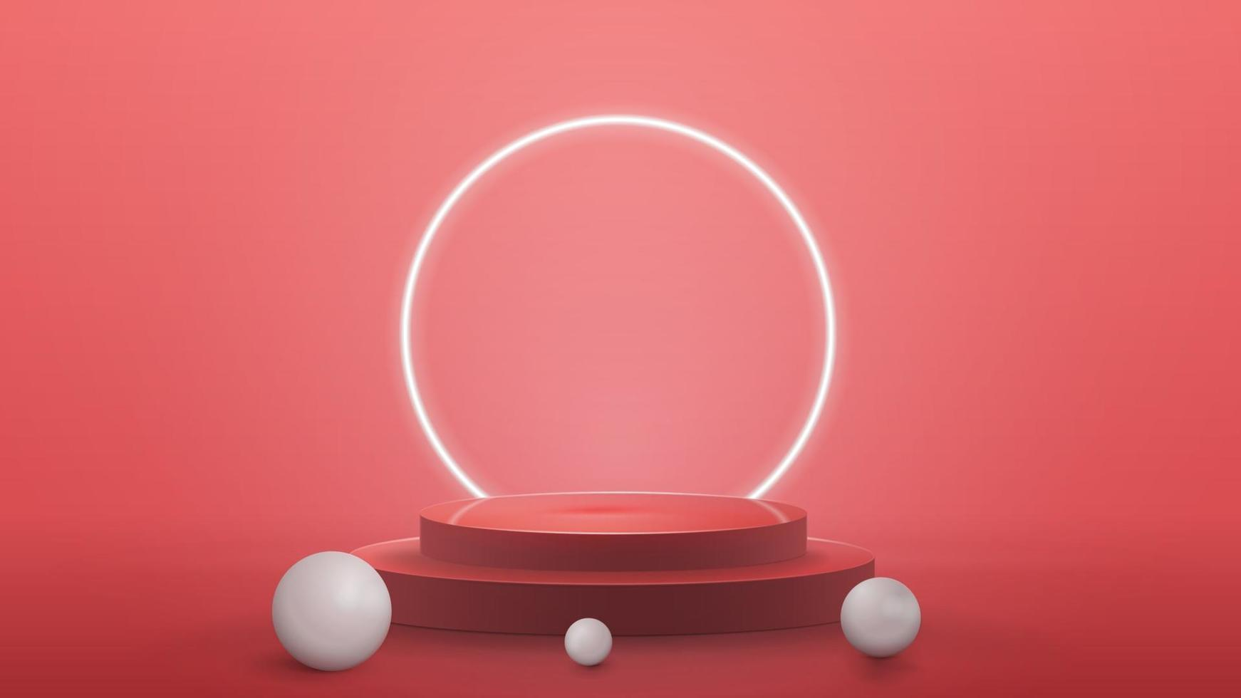 Empty podium with realistic spheres and neon ring on background, realistic vector illustration. 3d render illustration with pink abstract scene with neon white ring