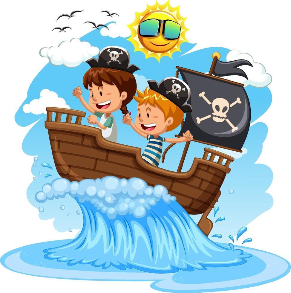 Parate niños en el barco sobre fondo blanco. vector