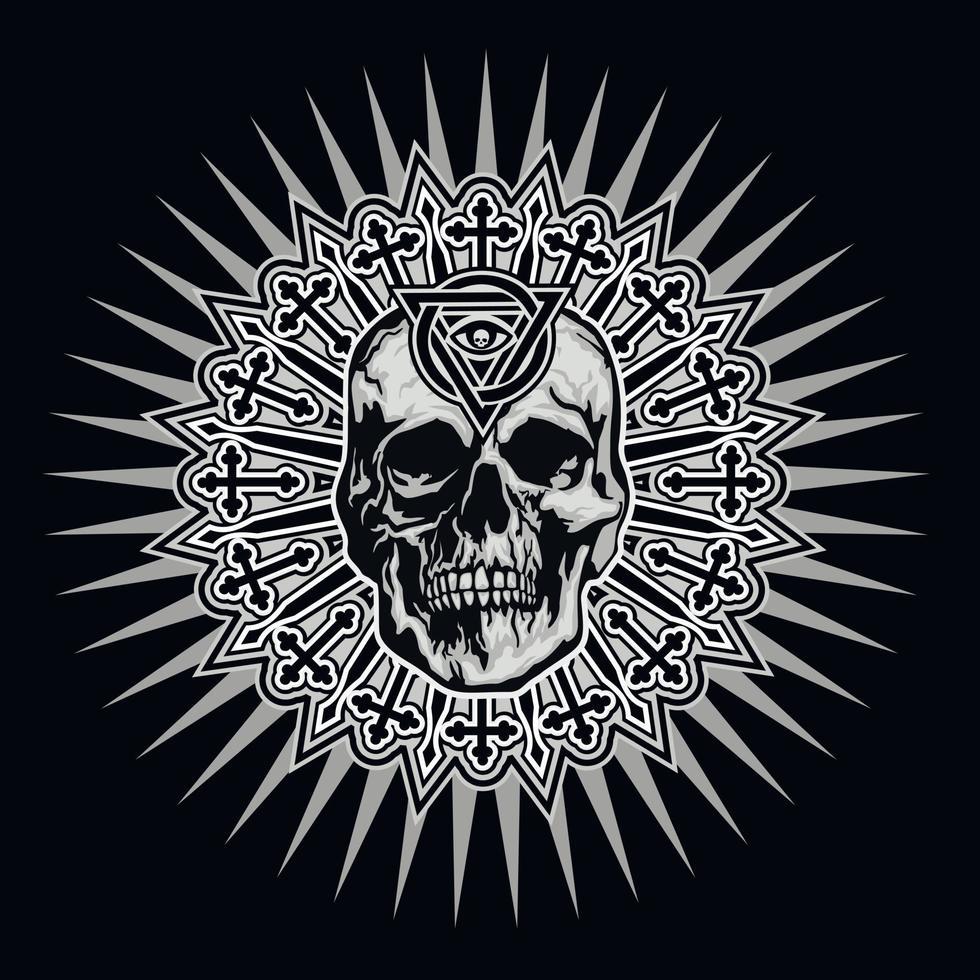 Signo gótico con calavera y ojo de la providencia en triángulo, camisetas de diseño vintage grunge vector