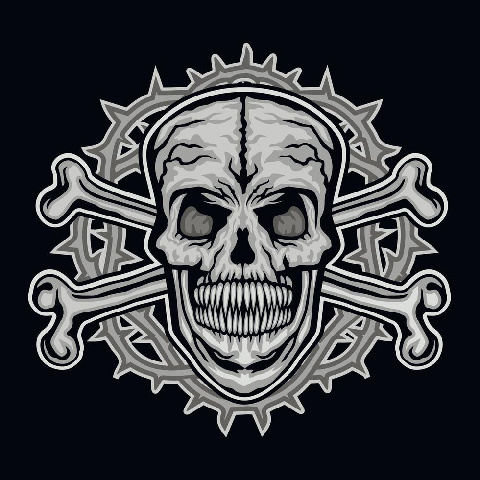 Gothic sign with skull and bone, grunge vintage design t shirts vector
