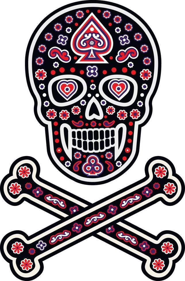 patrón de calavera de azúcar mexicana, diseño vintage para camisetas vector
