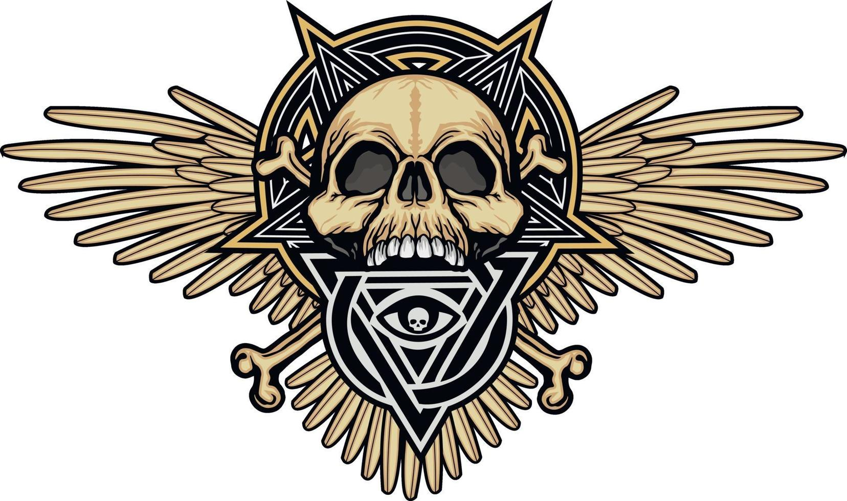 Gothic sign with skull and Eye of Providence in triangle, grunge vintage design t shirts vector