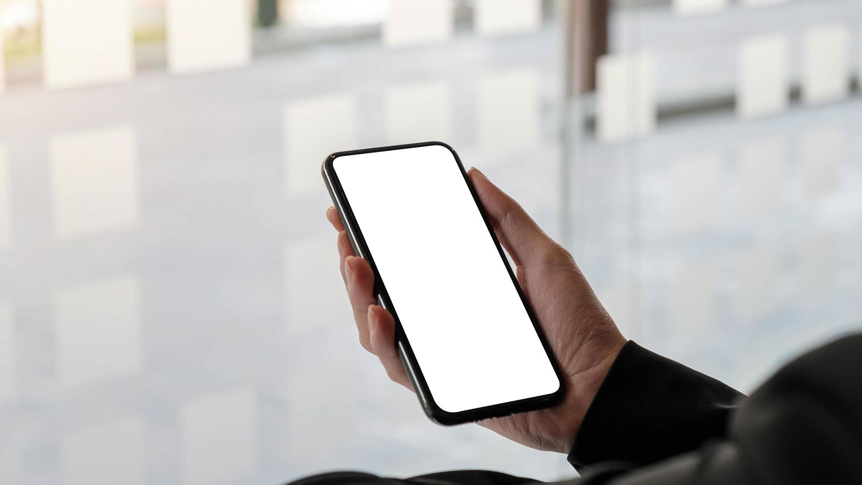 Mock up phone screen on neutral background photo
