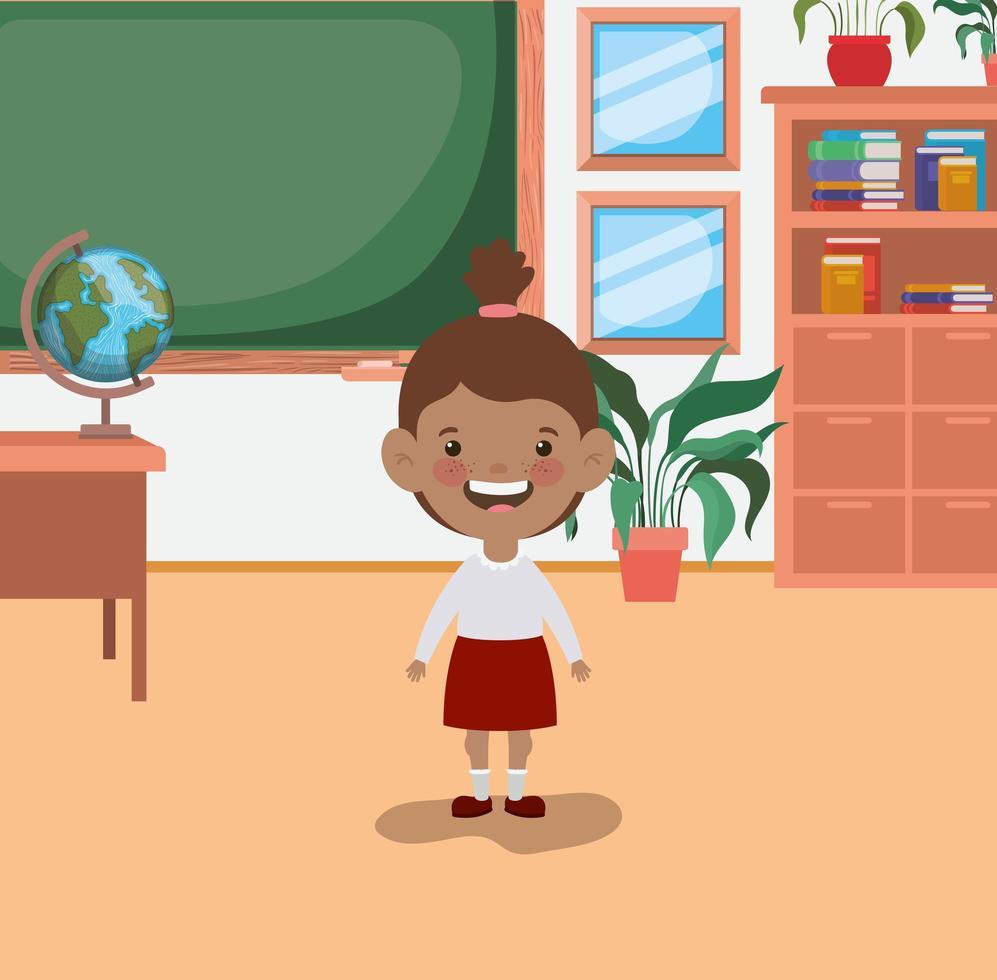 chica estudiante afro en el aula vector
