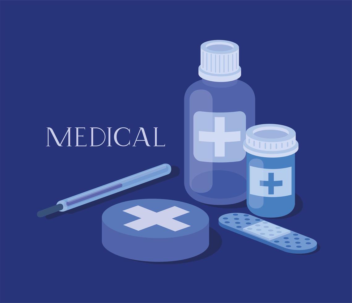 conjunto de iconos médicos ilustración vectorial vector