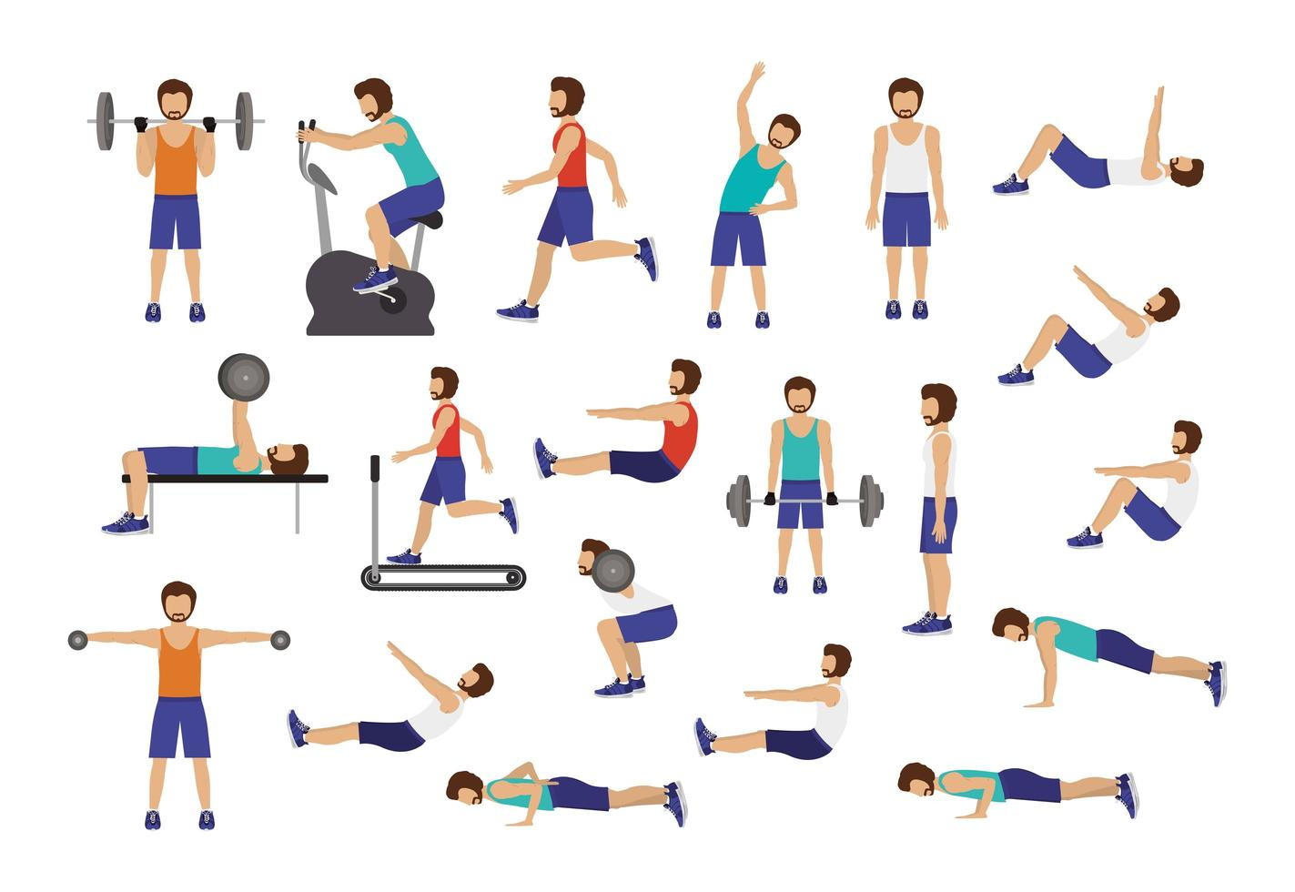 Set of men working out vector