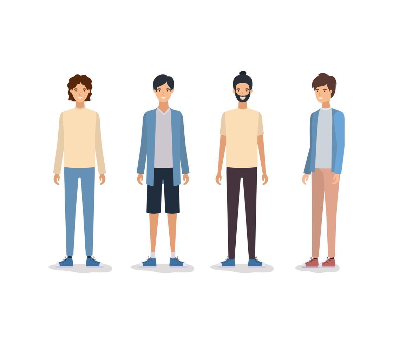 Isolated avatars of men design vector