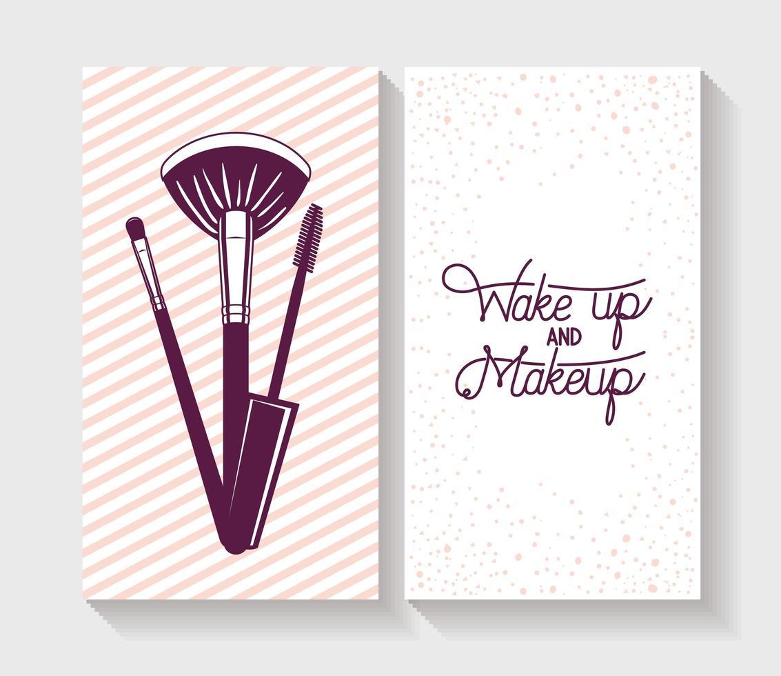 Juego de tarjetas de accesorios de pinceles de maquillaje vector