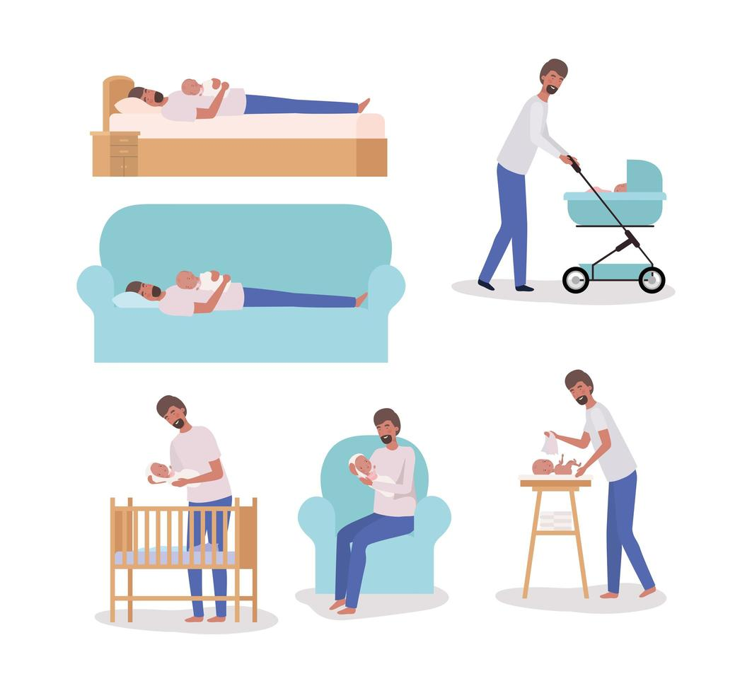 cute father with newborn baby set vector
