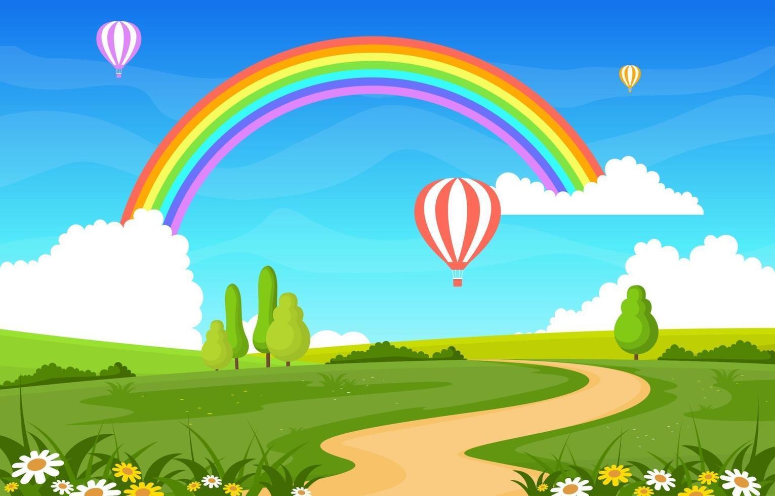 Winding Road Rainbow Nature Landscape Scenery Illustration vector
