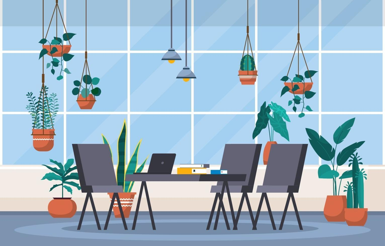 Tropical Houseplant Green Decorative Plant in Office Workspace Illustration vector