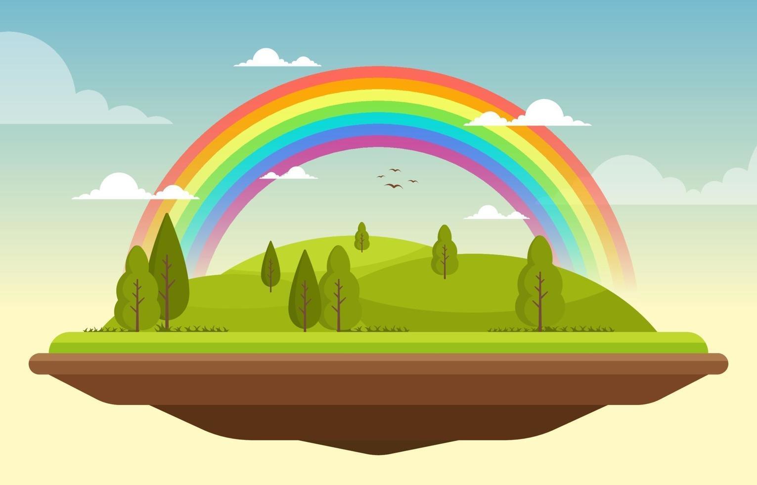 Beautiful Floating Landscape Rainbow Summer Nature Illustration vector