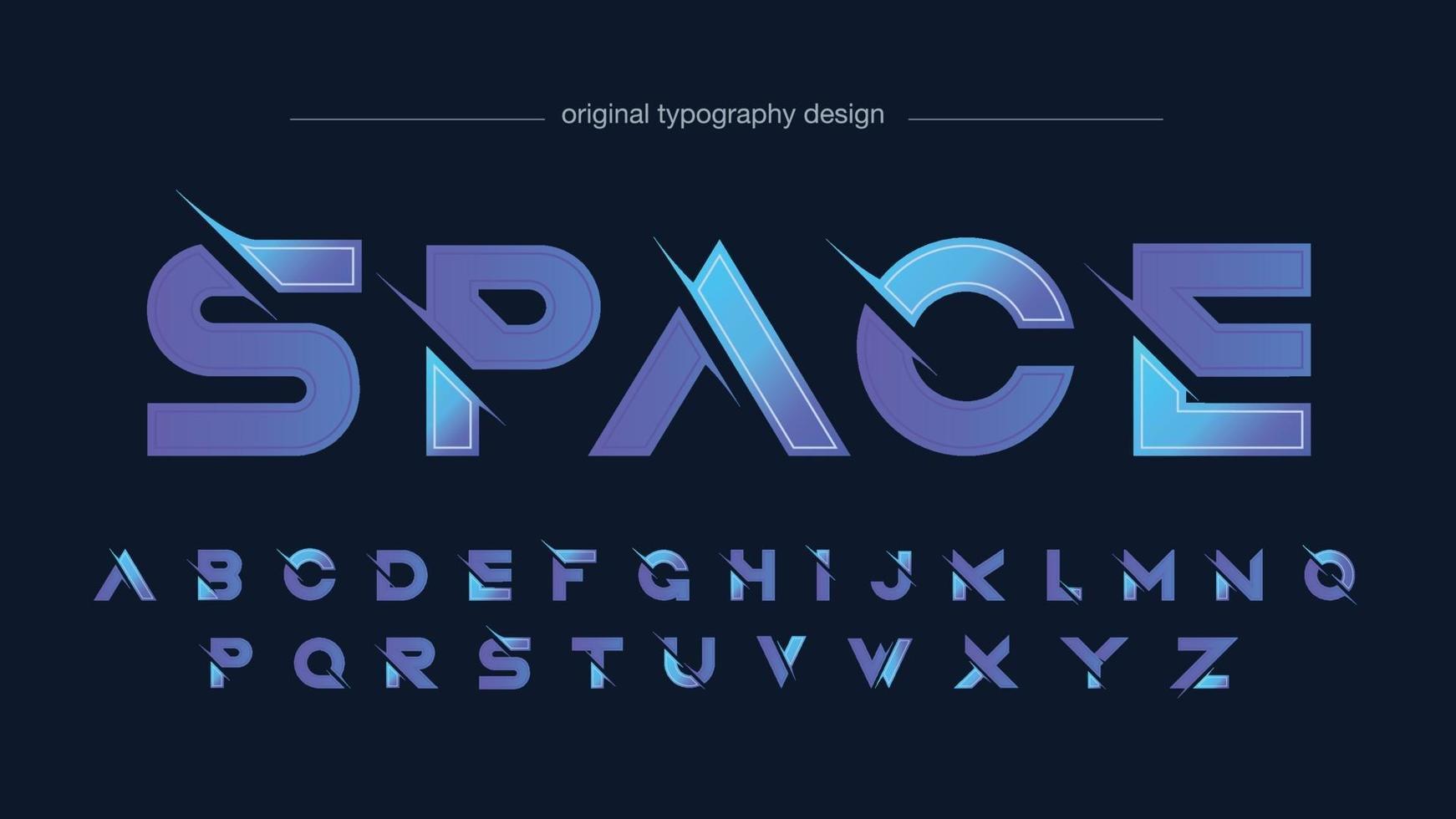 Purple Sliced Modern Futuristic Typography vector
