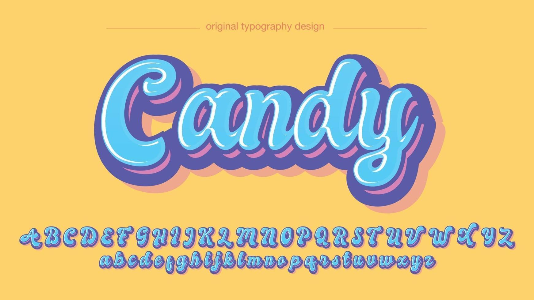 Blue Cute Bold Calligraphy Handwritten Cartoon Typography vector