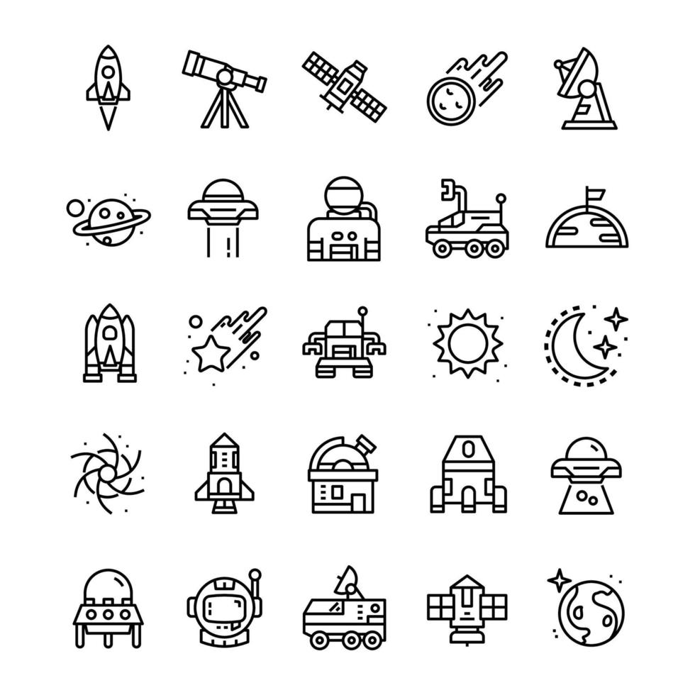 Set of Space icons with line art style. vector